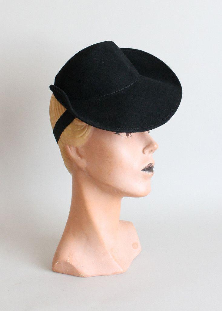Vintage 1940s Black Tilt Riding Hat