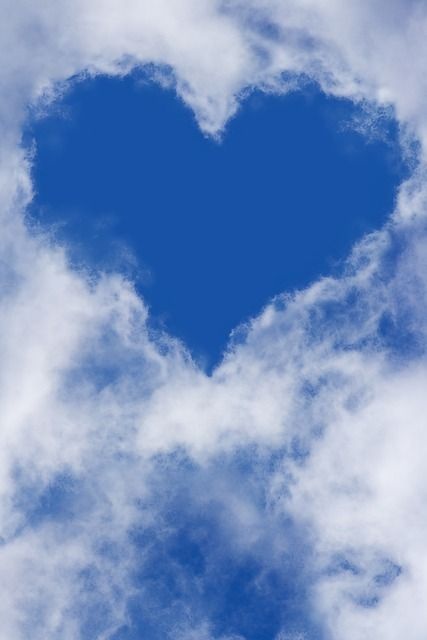 Coeur, Ciel, Nuages, Ciel Bleu