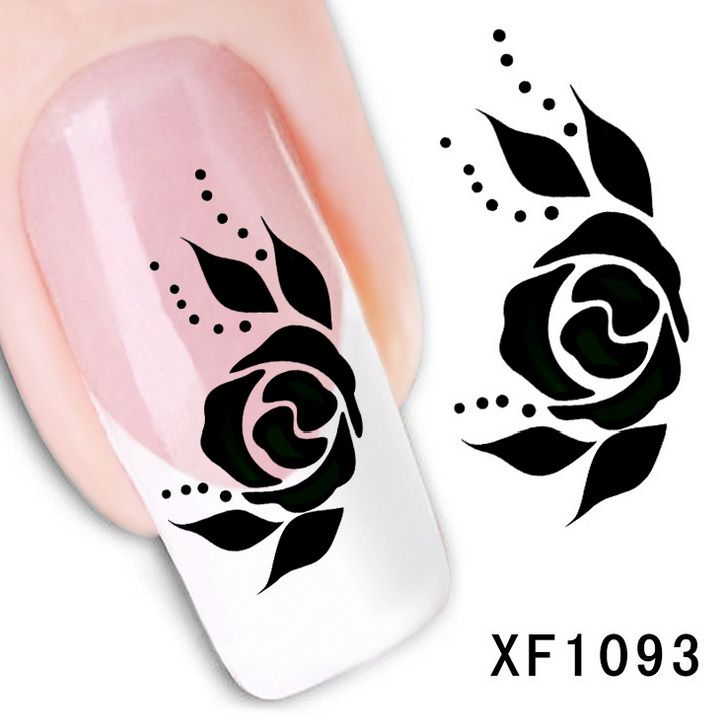 1 Sheet Black Rose French Nail Water Decals Art Transfer Stickers Decoration Nail Salon DIY XF1093