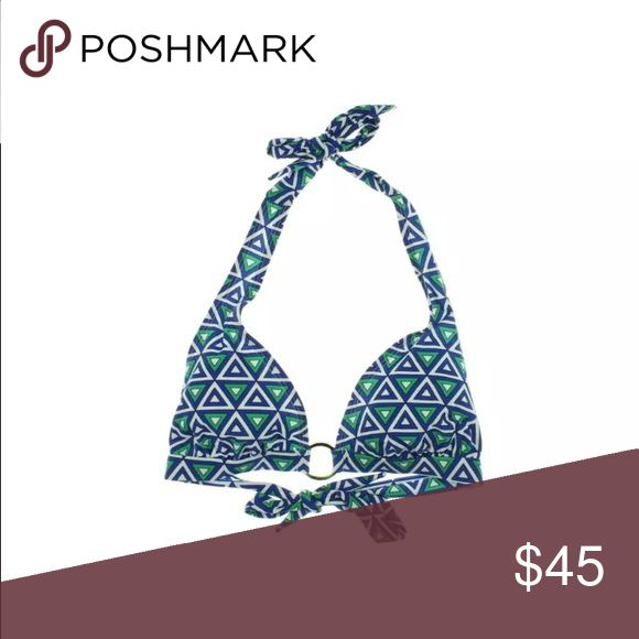 Shoshanna BLUE GREEN WHITE Bikini Tie Top This bikini top is both simple and sophisticated. Could be paired with matching bottoms or any complimentary color. Size D cup with adjustable band. The Geometric pattern features tribal triangle shapes. COMING VERY SOON Shoshanna Swim Bikinis