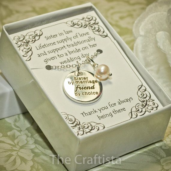 Sister In Law Wedding Gift: Sister Of The Groom Necklace -- SIL -- Sister-in-law