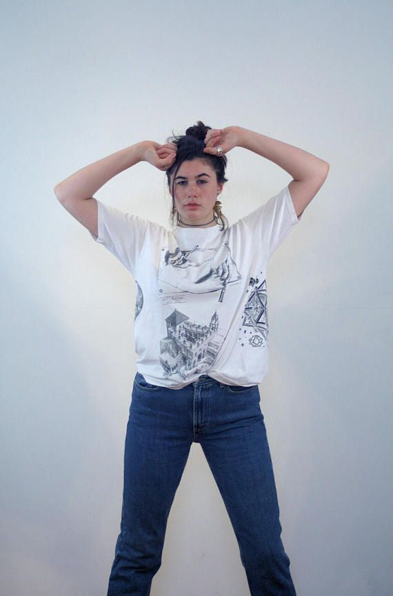 Rare 90s Escher Shirt L, All Over Print Escher Tee, MC Escher T-Shirt, Vintage Artist T-Shirt, Famous Art Tee, Escher Drawing Hands Tee