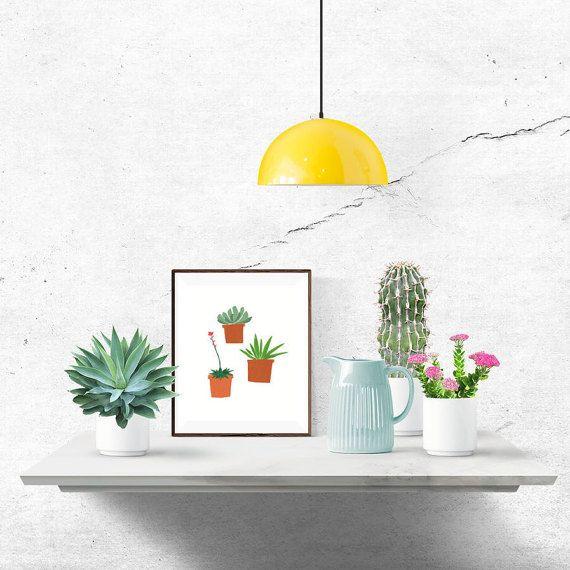Succulent Plant Digital Download Print, 8x10, kitchen wall art, printable illustration