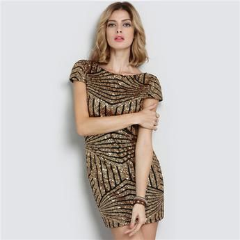 Gold Cap Sleeve Backless Mini Dress - WILD BILLY   Online Shopping, Fashion