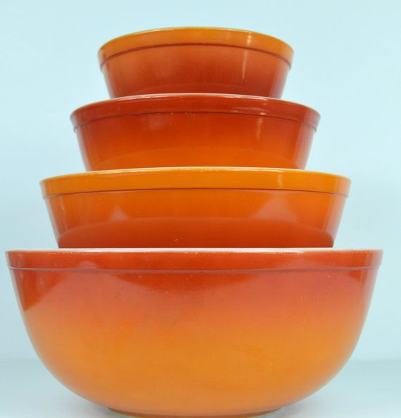 Vintage Pyrex Flameglo Mixing Bowl Set by TheAtomicHouse on Etsy