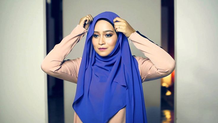 Simple loose chiffon hijab shawl 2 in 10 minutes tutorial (less pin) by ...
