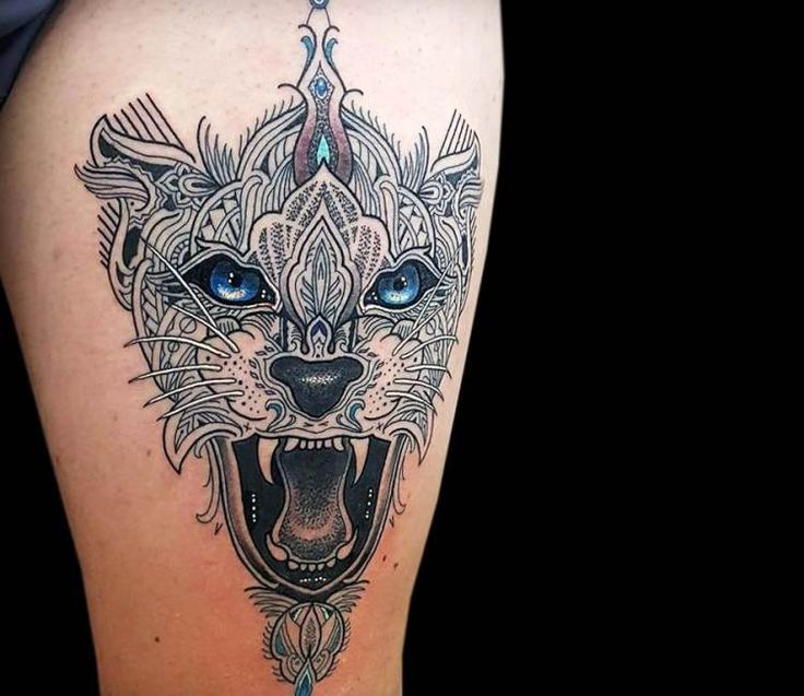 Mosaic Leopard tattoo by Coen Mitchell