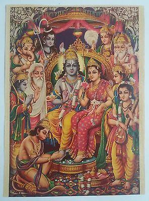 Indian Vintage Mythological Hindu Gods Litho Print- Ram Darbar