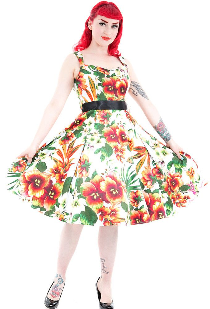 Hearts and Roses London - Tropical Lily Dress In Orange By Hearts & Roses