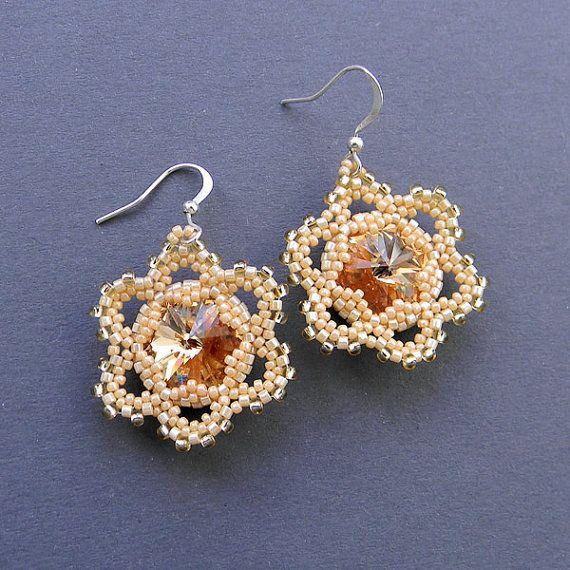 Swarovski earrings Seed bead earrings Flower by Anabel27shop,