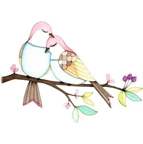 Love birds art print of a watercolor illustration by joojoo, $25.00