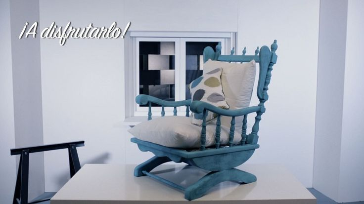 Rocking chair transformed into this stylish piece of furniture using Pintyplus Chalk Spray Paint.