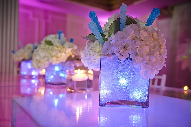 Hydrangeas with rock candy accent in glowing cube base