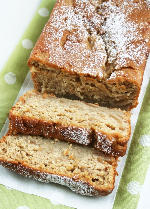 SUNKEN APPLE PIE BREAD (makes one 9×5″ loaf)    1/2 cup (1 stick butter, softened)  1 cup brown sugar, packed  2 eggs  2 cups all-purpose flour (I used unbleached flour)  2 1/2 teaspoons baking powder  1 teaspoon cinnamon  1 (21-oz.) can apple pie filling  powdered sugar for dusting on top of the loaf