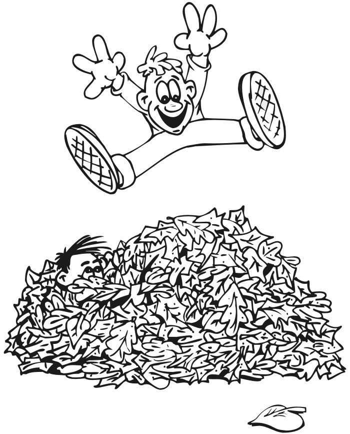 Most Young Kids Are Crazy About Coloring So This Autumn Sheet Activity Of A Boy Jumping In Pile Leaves Is An Awesome Pick For