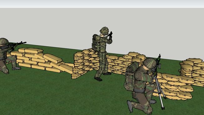 Large preview of 3D Model of soldiers defending a helicopter base