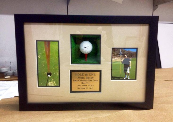 What's the next step after getting a Hole-in-One?  Putting it on display for everyone to see!  #fastframe #golf #shadowbox