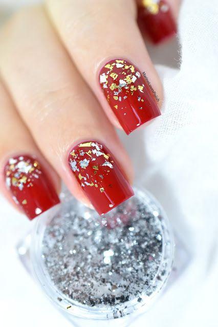 Un nail art festif ultra facile en semi-permanent avec Peggy Sage ! [VIDEO TUTORIAL] - Peggy Sage Red Envi 1-LAK - Gel polish - Flakies gradient - gold - silver - christmas nail art