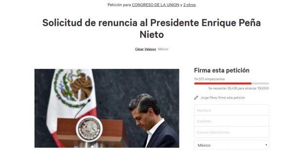 Fue lanzada una petición para solicitar la renuncia del presidente Enrique Peña Nieto por medio de Change.org