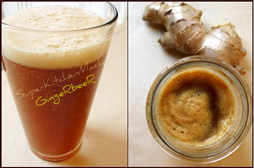 Thermomix easy Ginger Beer no alcohol  80g ginger root, 90g molasses, 2 lemons and 1 litre soda water