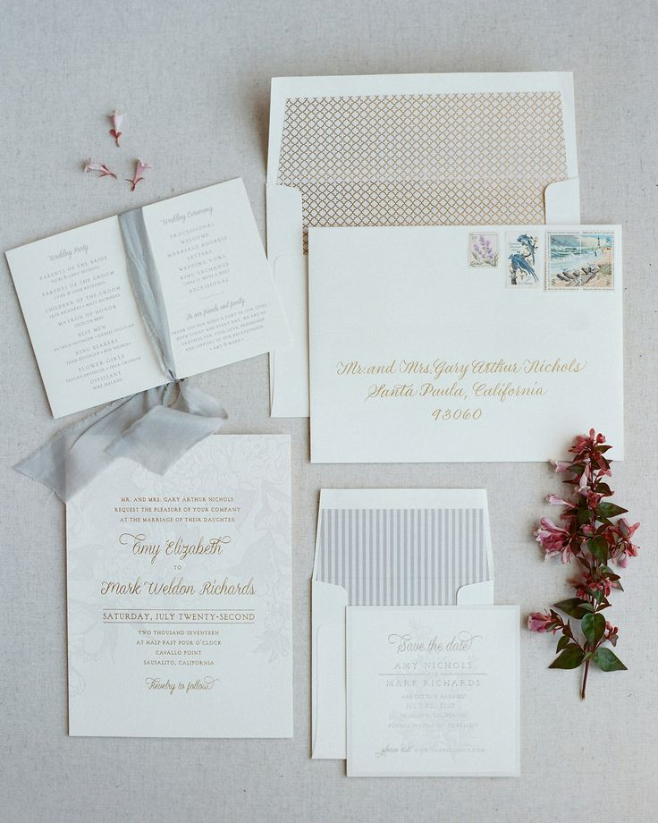 With a seven-month engagement, Amy and Mark knew they had to work quickly to ensure their summer wedding would be marked on the calendars of their nearest and dearest. Union Street Papery helped get save-the-dates and invitations ordered promptly. The classic letterpress suite, designed by Bella Figura in shades of ecru and pale lavender, was customized with gold matte foil. Invitations were delivered in an envelope with delicate gold calligraphy and vintage stamps, depicting images and…