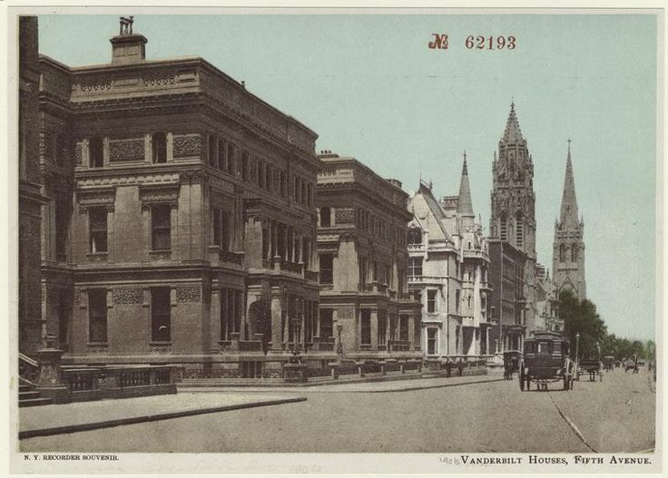 Vanderbilt Houses | Fifth Ave, NYC (circa 1901s) looking north from 51st. Brown buildings are residences built for William H. Vanderbilt's family and  two of his daughters; the lighter colored building is W. K. Vanderbilt's Petit Chateau and beyond that are the towers of St. Thomas Church and Fifth Ave Presbyterian Church.