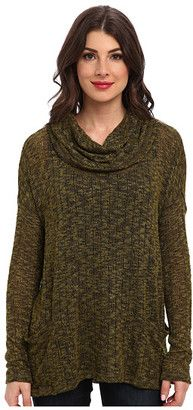 Miraclebody Jeans Cameron Pocketed Cowl - Slub Sweater Knit - Shop for women's Sweater - Olive Sweater