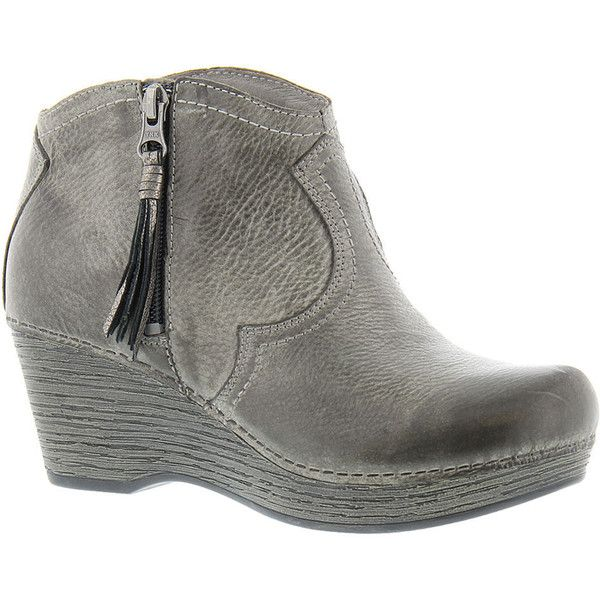Dansko Veronica Women's Grey Boot Euro 39      US 8.5 - 9 M ($185) ❤ liked on Polyvore featuring shoes, boots, grey, western boots, leather boots, grey leather boots, high heel cowboy boots and grey boots