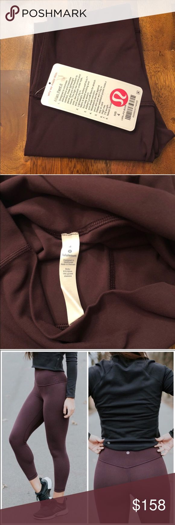 """Lululemon Align II 7/8 25"""" NWT BLACK CHERRY 4 NWT SOLDOUT SIZE AND COLOR COMBO NEW WITH TAG BLACK CHERRY  sz4   ✌🏼priced to encourage reasonable offers 🖤 will not sell below retail 🍋posh fee is 20% of sale price lululemon athletica Pants Leggings"""