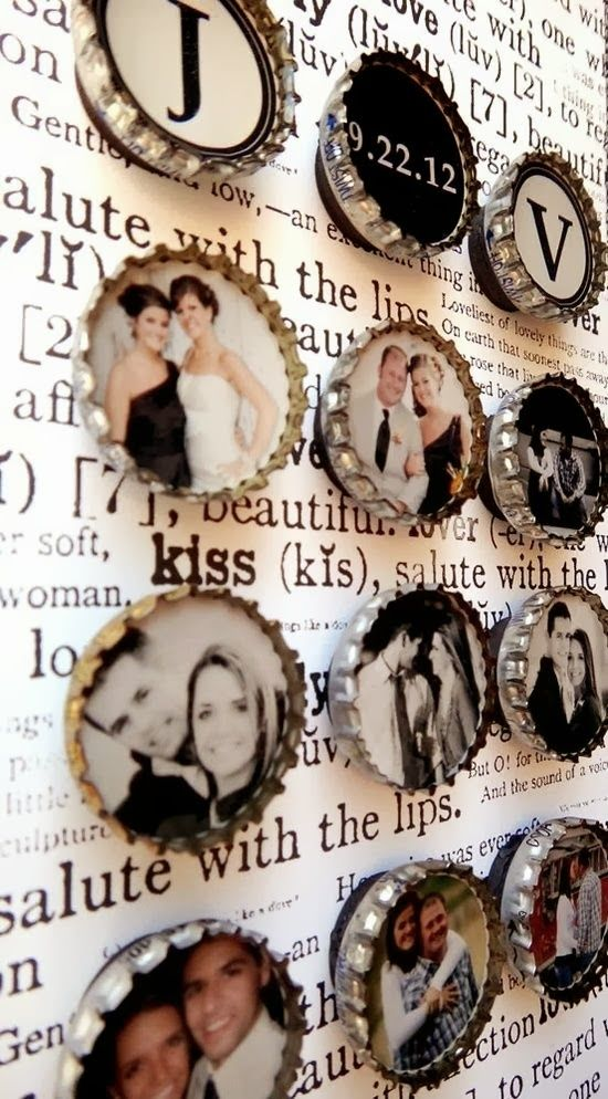 Süße Idee für Deine Fotos - Kronkorken mit Fotos von Dir. Die Bilder kann man ganz einfach bei uns entwickeln lassen :-) #fotos #fotosentwickeln #basteln