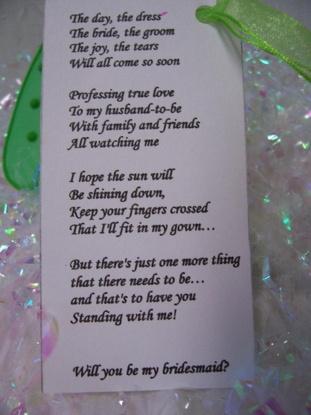 "Cute ""will you be my bridesmaid"" poem."