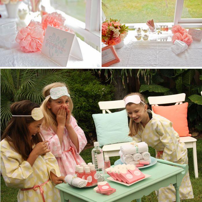 Une petite fille qui demande à sa maman une fête d'anniversaire autour du thème « une journée au spa », une maman créative, une palette de j...