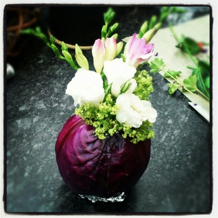 Flowers in red cabbage