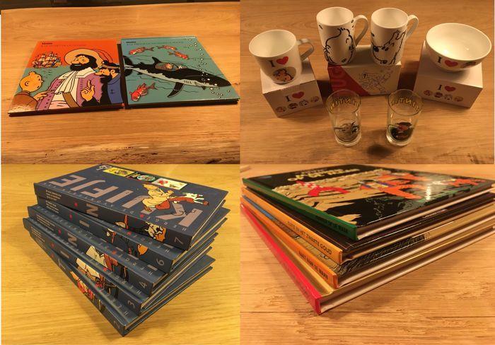 Hergé - 3x mok  kom Moulinsart  2x glazen  2x boeken Pop-up - 5x Kuifje bundel  4x Kuifje boeken A5 - 11x hc - 8x 1e druk heruitgave  3x herdruk (jaren' 00)  2x zeer goede Pop-up Boeken: 1: Les Aventures de Tintin : Le secret de la Licorne - Editions Moulinsart 2007 ( Frans ) - ISBN 97828742409802: Les Aventures De Tintin: Le Trésor De Rackham Le Rouge - Editions Moulinsart 2007( Frans ) - ISBN 9782874241178 ( zie foto voor kleine beschadiging…