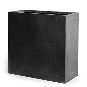 jardini re en fibre rectangulaire b ton coloris gris. Black Bedroom Furniture Sets. Home Design Ideas