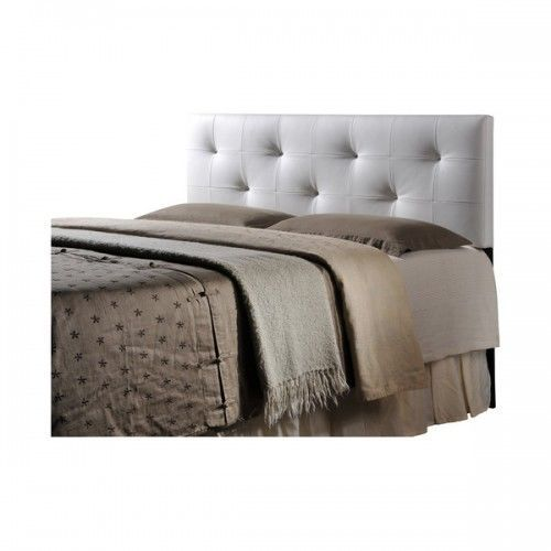 White Upholstered Headboard Queen Tufted Faux Leather Button Bed Room Furniture #WholesaleInteriors #Modern