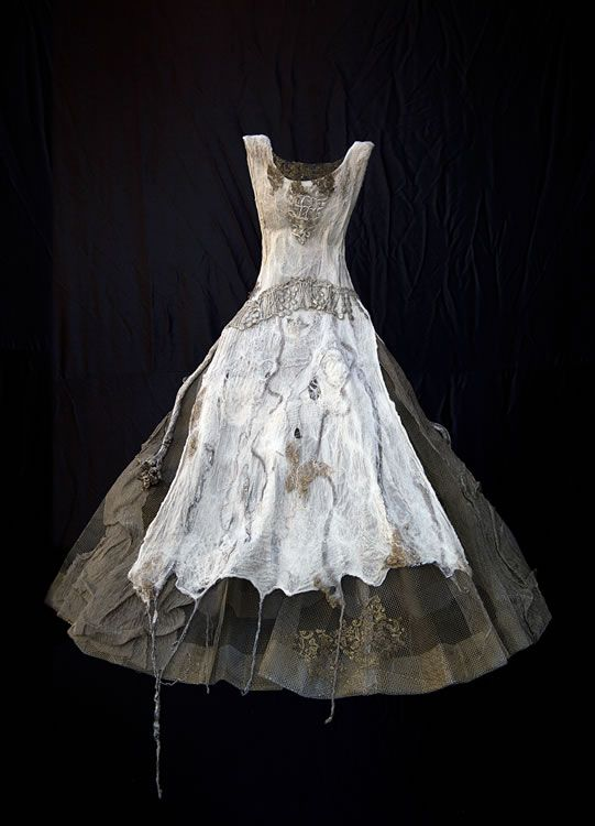 Mixed media dress sculpture with embroidered felt & distressed fabrics; textile art