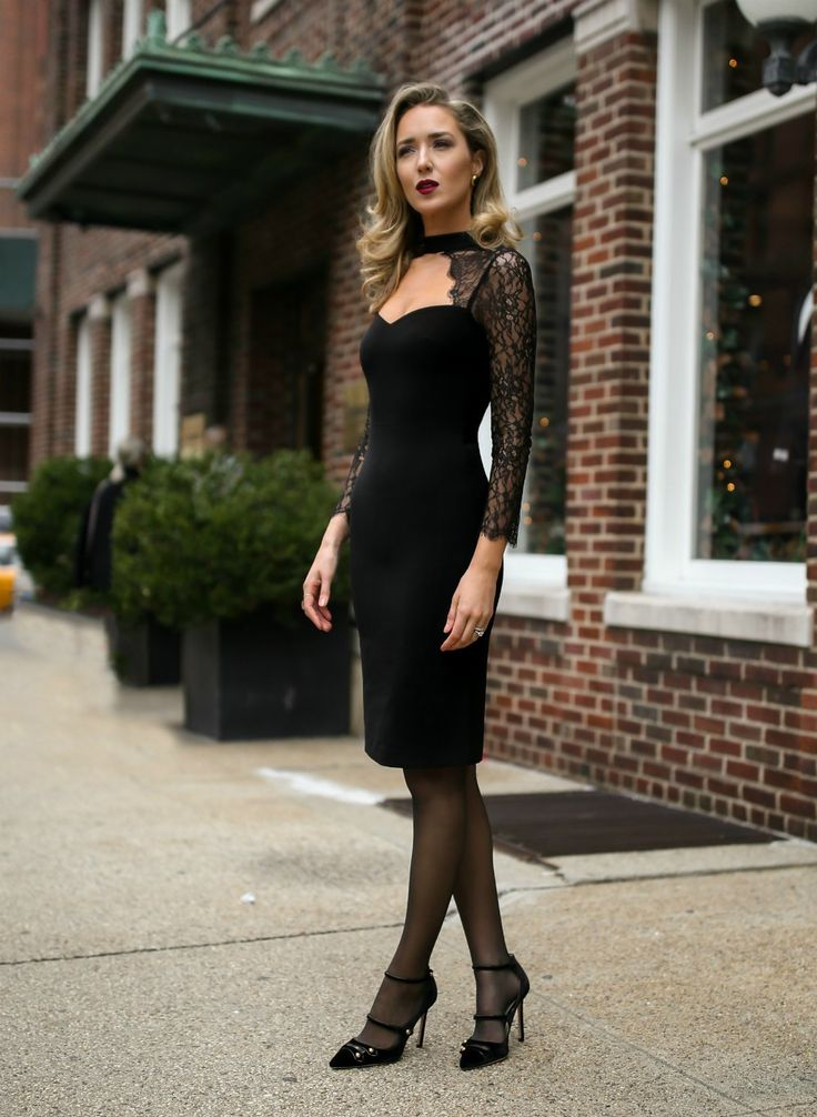 Click For Outfit Details Black Lace Cut Out Sheath Dress