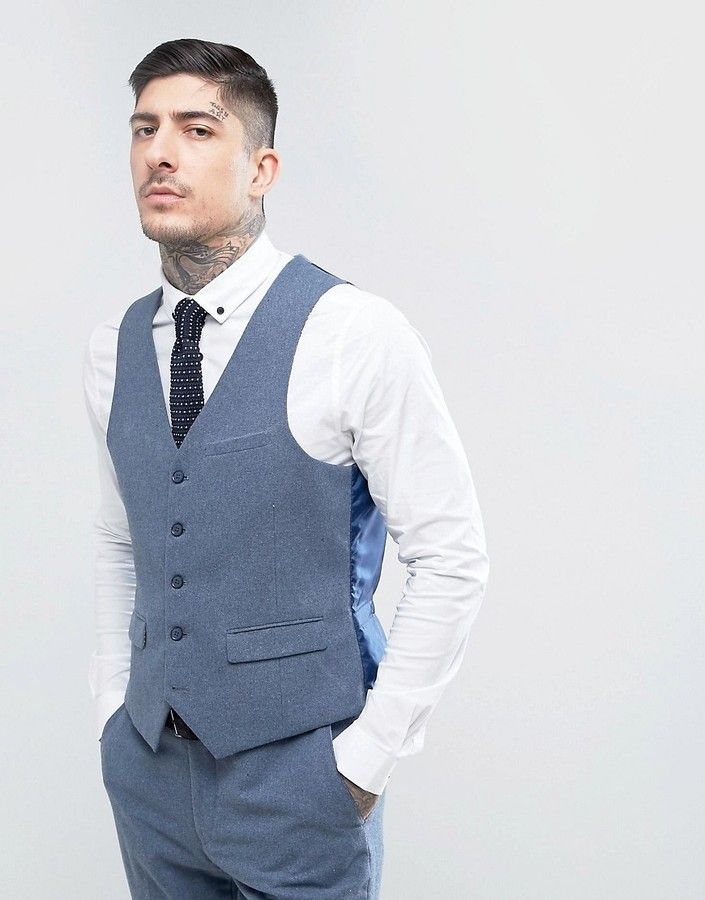 Slim Fit Donegal Nep Waistcoat - Blue Harry Brown Free Shipping Fashionable Fake Clearance mULpIWSr