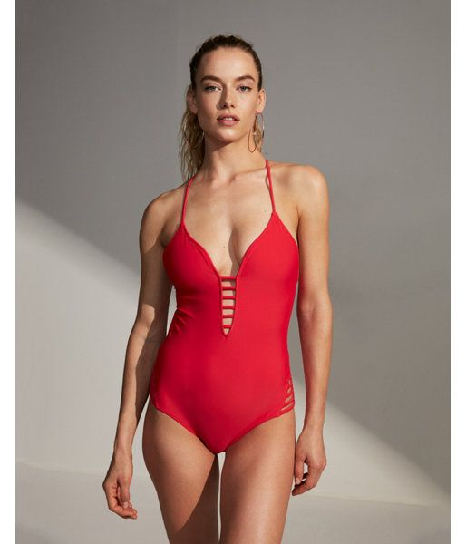 f2907ec9f8dc Red. Soak Up The Sun In This Strappy One-Piece Swimsuit, Featuring Sexy  Skin-Baring Details Like A Plunging Front And Open Back.