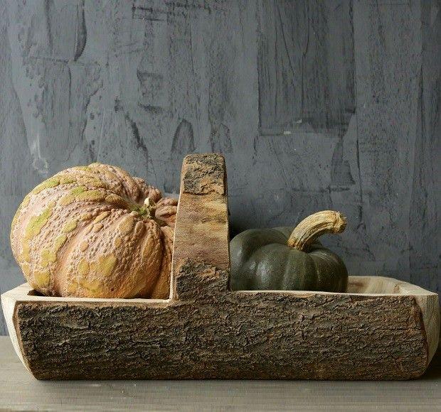 Carved Wooden Basket With Handle Wood Basket Diy