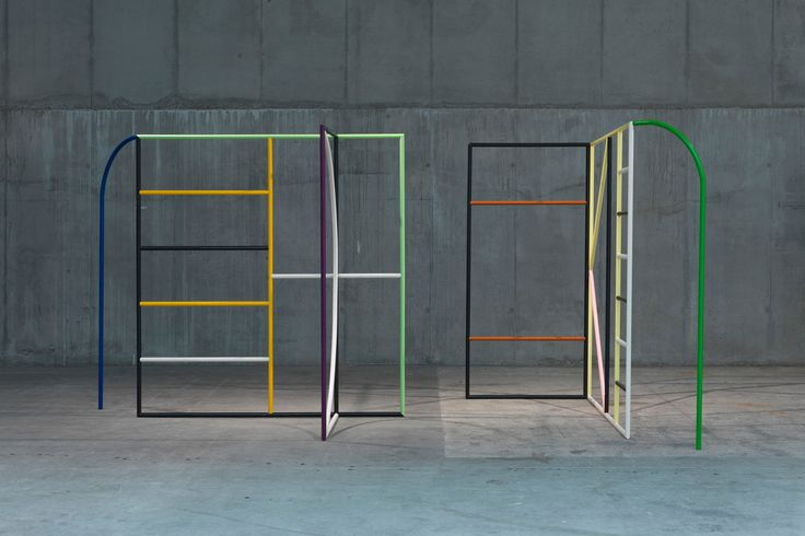 Untitled (Monday & Tuesday), 2013 <br /> steel, lacquer<br /> 220 x 250 x 150 cm each