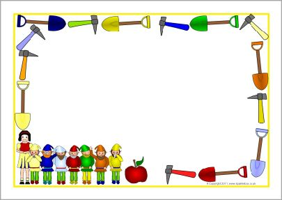 Snow White A4 page borders (SB3855) - SparkleBox