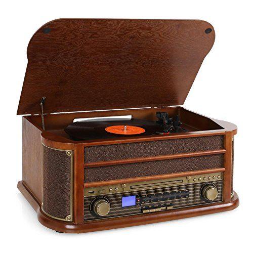 auna RM1 Belle Epoque 1908 chaine stéréo look rétro avec platine vinyle et lecteur CD et K7 (USB, tuner AM/FM) – Bois et tissu