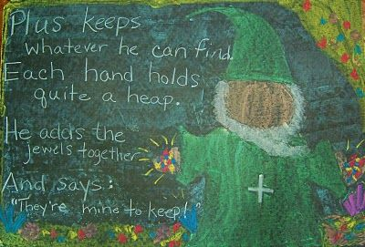 Waldorf ~ 1st grade ~ Math ~ Four Processes ~ Gnome Plus ~ chalkboard drawing