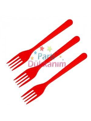 Kırmızı Plastik Çatal Lüks (25 adet)