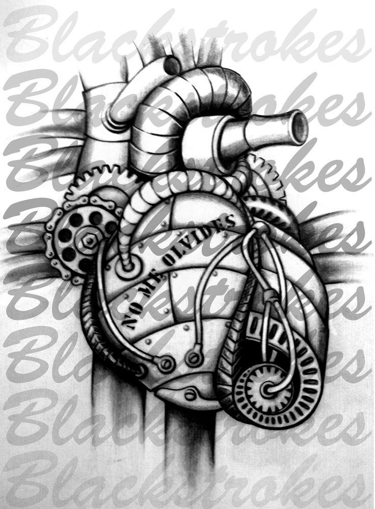 """""""No me olvides"""", #Corazón mecánico. Dibujo para tatoo Lápiz de grafito  21x23cm  Año 2015"""