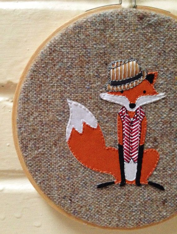 RESERVED Dapper Woolen Fox Hoop Art by islandbaby on Etsy