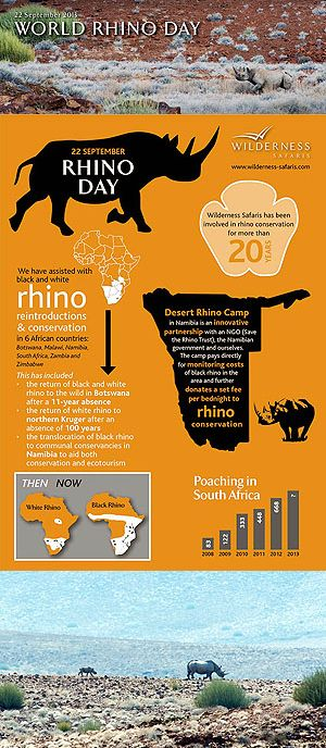 We Are Wilderness - Wilderness Safaris has been involved in rhino conservation for more than 20 years; assisting with black and white rhino reintroductions and conservation in six countries. Click on the image for the full story