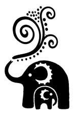glitter tattoo stencil henna elephant